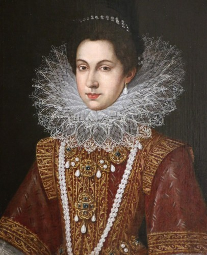 Portrait of Anne of Austria (1601; 1666), Queen of France after Pourbus - Paintings & Drawings Style Louis XIII