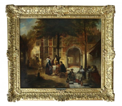 Hendrik Leys (1815-1869) - Scene of life in a courtyar