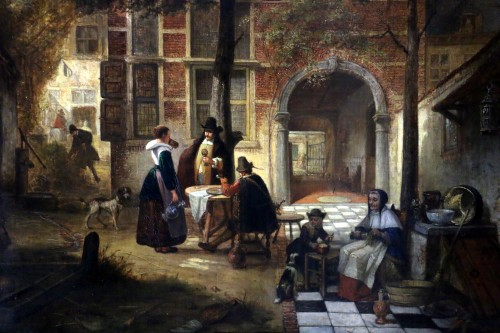 Hendrik Leys (1815-1869) - Scene of life in a courtyar - Paintings & Drawings Style Louis-Philippe
