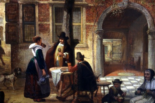 Paintings & Drawings  - Hendrik Leys (1815-1869) - Scene of life in a courtyar
