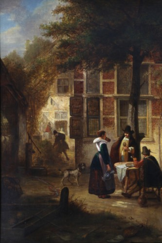 Hendrik Leys (1815-1869) - Scene of life in a courtyar -