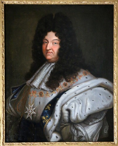 Portrait of Louis XIV in coronation costume, French school of the 18th cent - Paintings & Drawings Style Louis XIV