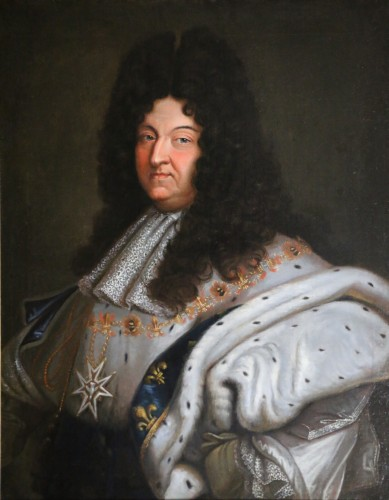 Paintings & Drawings  - Portrait of Louis XIV in coronation costume, French school of the 18th cent