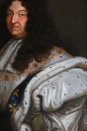 18th century - Portrait of Louis XIV in coronation costume, French school of the 18th cent