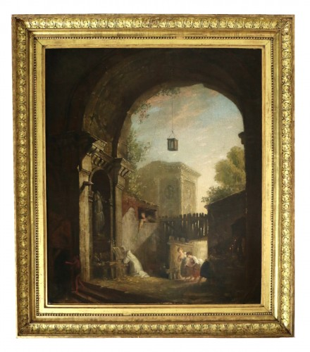 the monk and the 4 young women in an ancient ruin - attributed to Hubert Robert (1733-1808) and his workshop