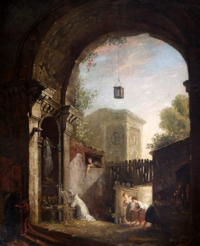 Paintings & Drawings  - the monk and the 4 young women in an ancient ruin - attributed to Hubert Robert (1733-1808) and his workshop