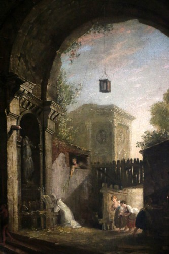 the monk and the 4 young women in an ancient ruin - attributed to Hubert Robert (1733-1808) and his workshop -