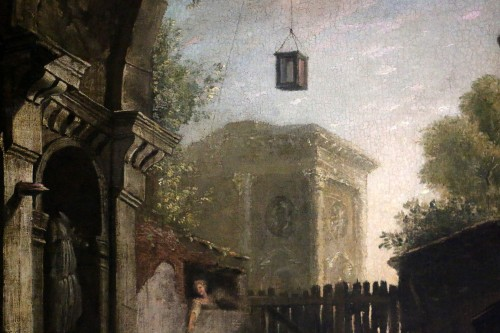 the monk and the 4 young women in an ancient ruin - attributed to Hubert Robert (1733-1808) and his workshop - Louis XVI