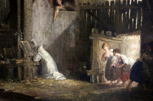 Antiquités - the monk and the 4 young women in an ancient ruin - attributed to Hubert Robert (1733-1808) and his workshop