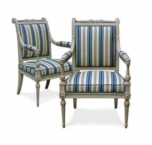 A fine pair of Directoire armchairs in the Etruscan style