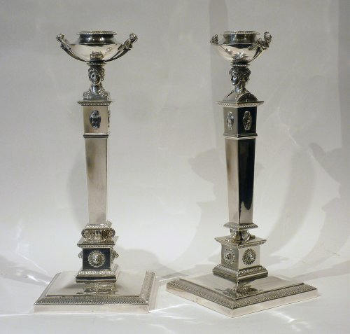 A pair of silver candlesticks, Paris 1797 - Silversmith : Marc JACQUAR