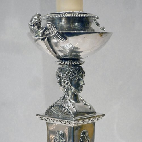 A pair of silver candlesticks, Paris 1797 - Silversmith : Marc JACQUAR - Antique Silver Style Directoire