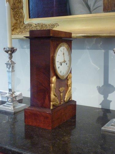 19th century - An Empire Egyptian revival ormolu mounted clock, circa 1805