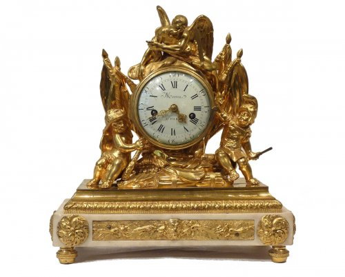 A Louis XVI gilded bronze mantel clock by Pierre Martin Merra