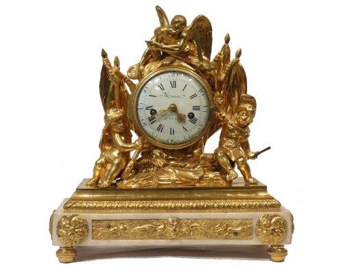 A Louis XVI gilded bronze mantel clock by Pierre Martin Merra