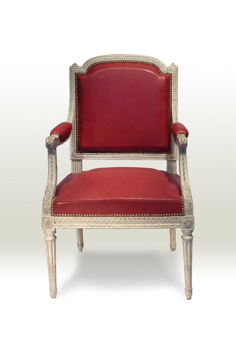 fauteuil de bureau d 39 poque louis xvi estampill i avisse. Black Bedroom Furniture Sets. Home Design Ideas