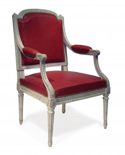 A Louis XVI Desk Armchair  Signed I. AVISSE. Jean Avisse master in 1745