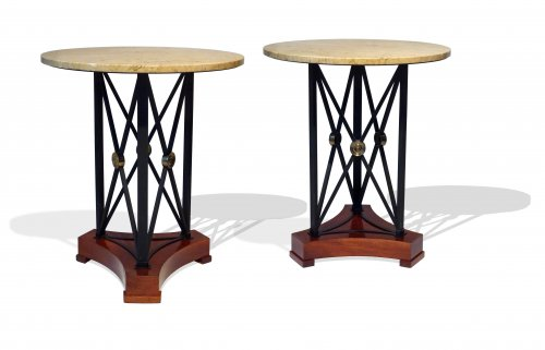 A pair of French gueridons or side tables circa 1940-1950