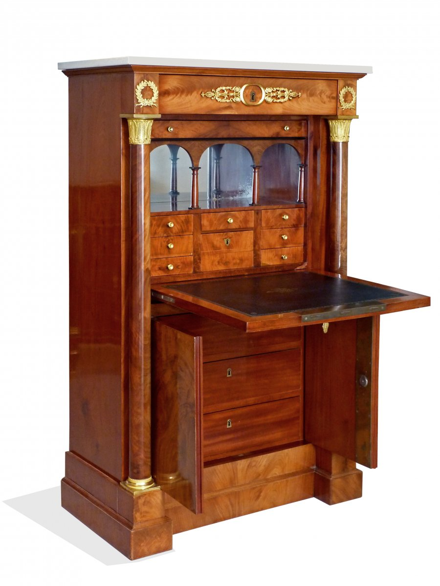 Secr taire en armoire d 39 poque empire attribu jacob for Petit meuble secretaire