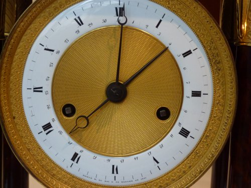 A Restauration ormolu mounted mahogany striking regulator clock -