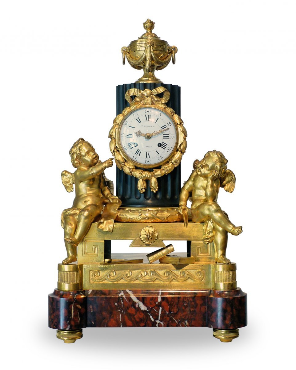 a late louis xv ormolu and bronze mantel clock by osmond paris circa 1770. Black Bedroom Furniture Sets. Home Design Ideas