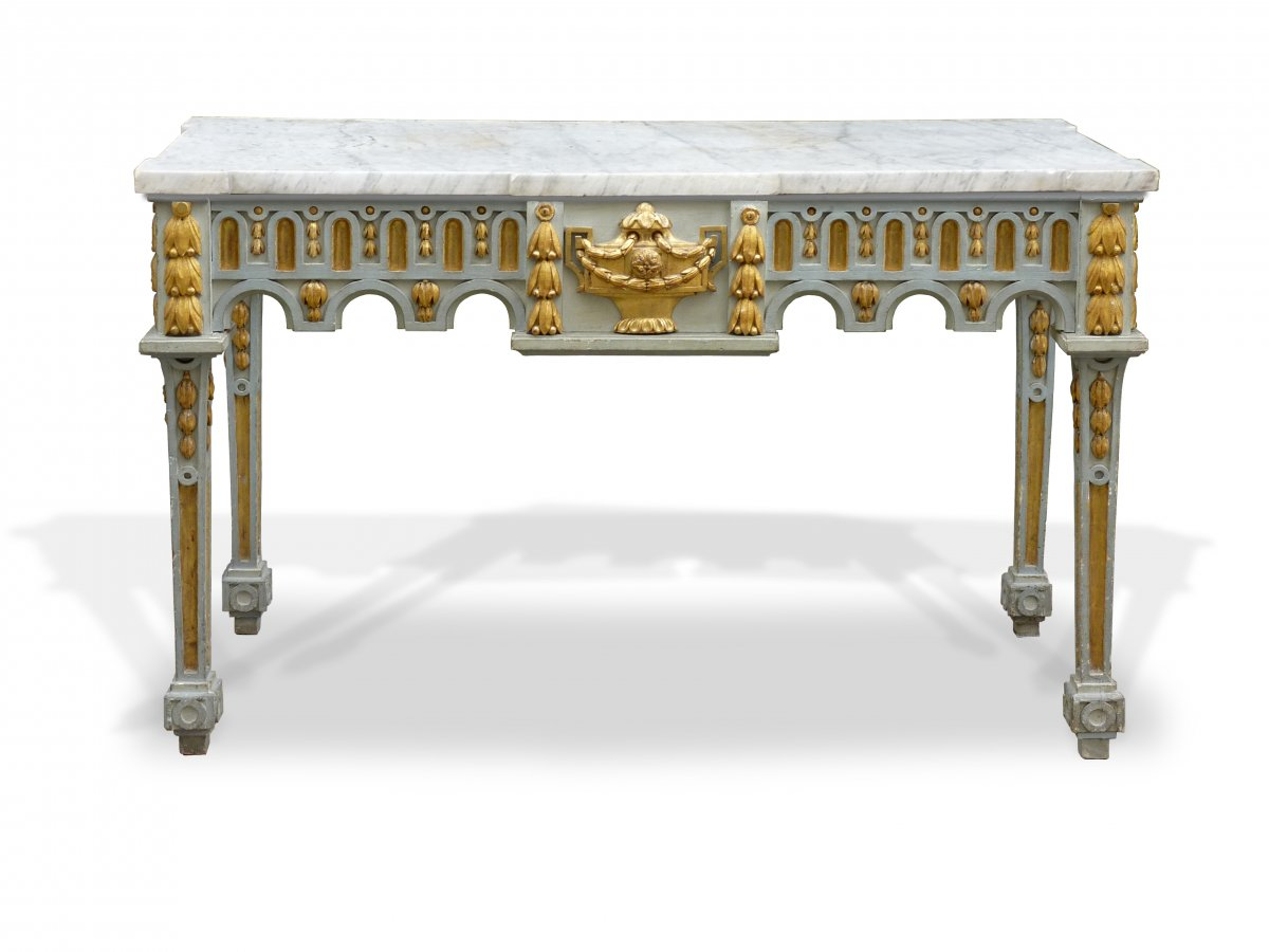 An important gilded and grey painted Louis XVI period console table ...