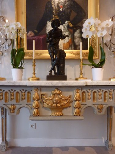18th century - An important gilded and grey painted Louis XVI period console table