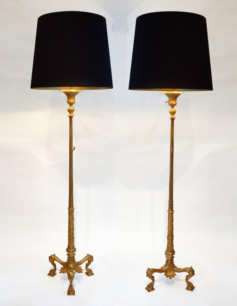A Pair Of Pompeian Style Gilt Bronze Tripod Floor Lamps Circa 1900