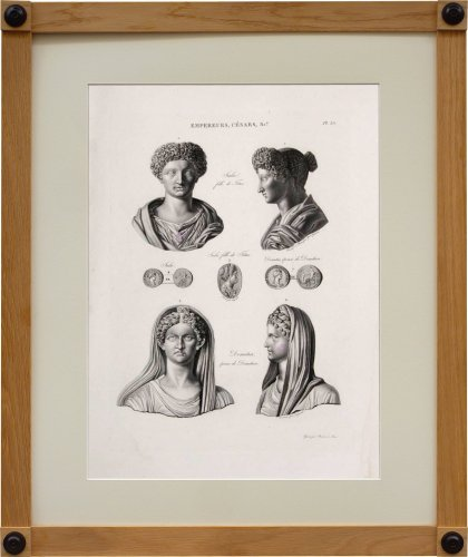 A set of six engravings from Iconographie Romaine by Visconti . Paris 1817 -
