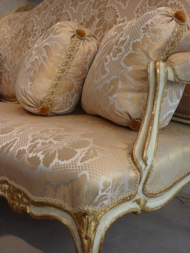 Seating  - An important gilded and lacquered Louis XV sofa attributed to Louis Cresson