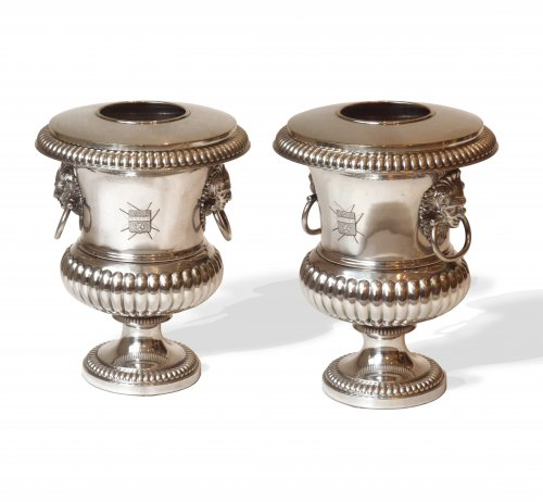A pair of silver-plate urn-form wine coolers circa 1830