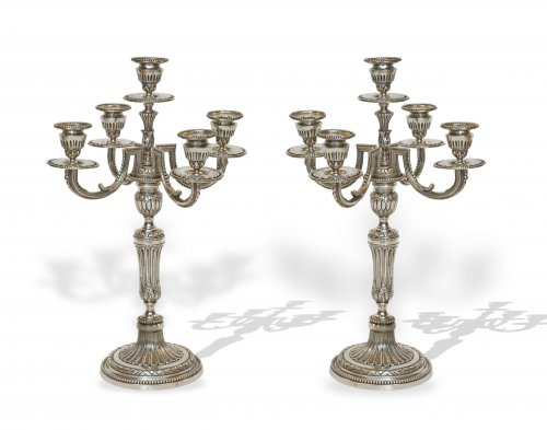 A pair of five-light silvered bronze candelabra. Late 19th century