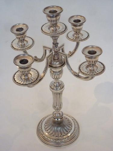 Lighting  - A pair of five-light silvered bronze candelabra. Late 19th century