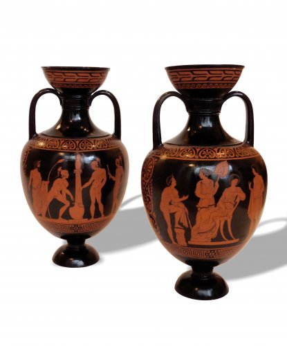 A pair of Naples (del Vecchio) red-figured black-ground terracotta amphorae