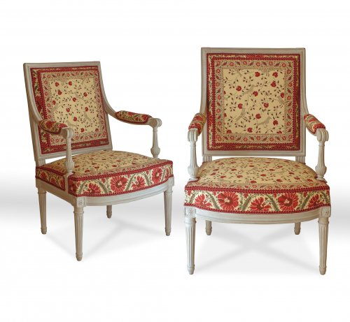 A pair of large Louis XVI fauteuils à la reine