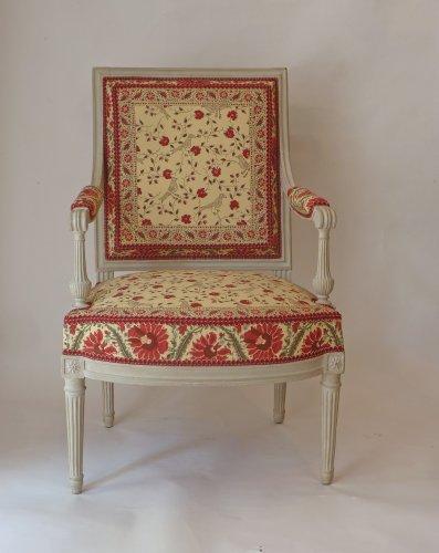 A pair of large Louis XVI fauteuils à la reine -