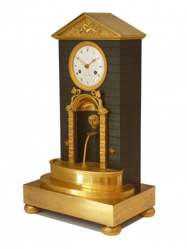 "An Empire ormolu and patinated bronze clock ""pendule à la fontaine"" - Clocks Style Empire"