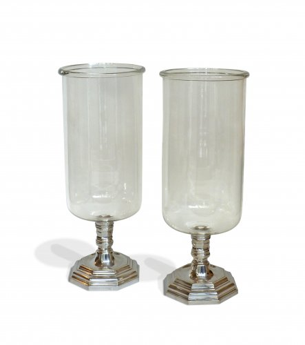 A pair of large silvered bronze and glass photophores, 19th century
