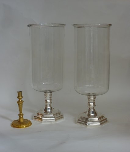 A pair of large silvered bronze and glass photophores, 19th century -