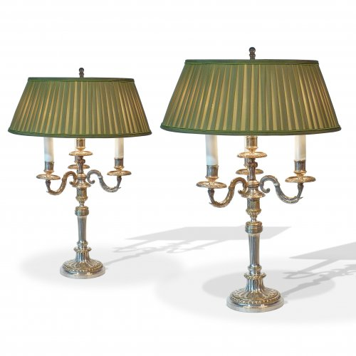 A pair of silvered bronze neoclassical candelabras - Mounted as lamps