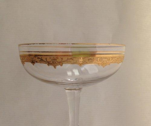 """Antiquités - A Saint Louis """"Roty"""" pattern part table-service - 69 glasses"""