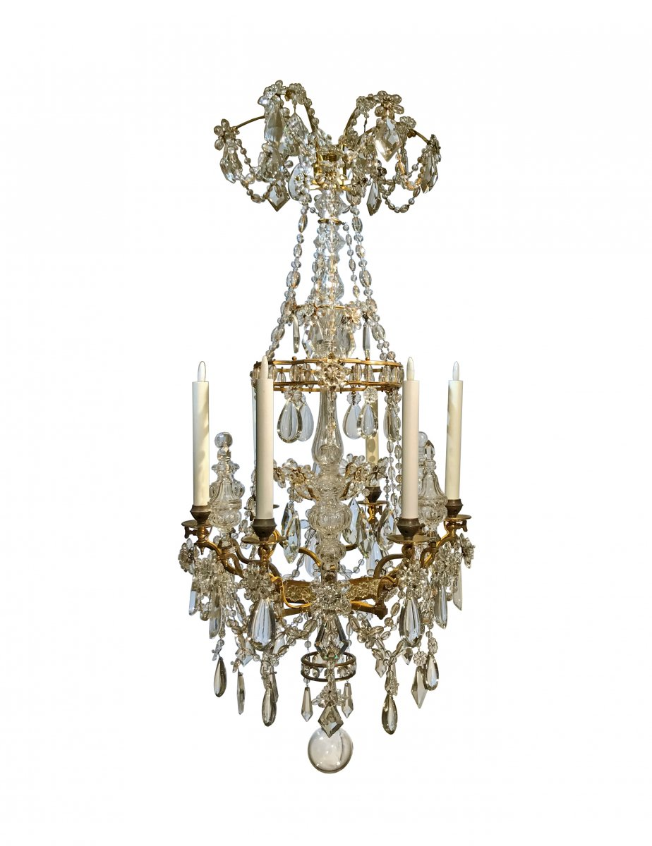 A french gilt bronze and crystal six light chandelier circa 1850 a french gilt bronze and crystal six light chandelier circa 1850 aloadofball Images