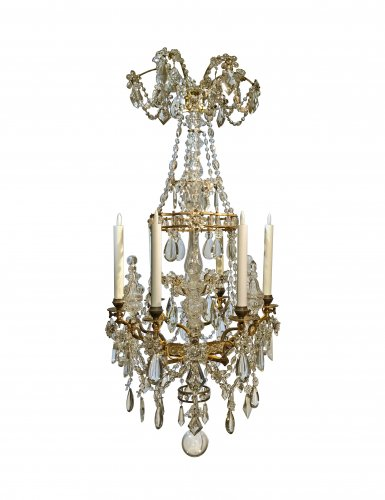 A French gilt bronze and crystal six light chandelier, circa 1850