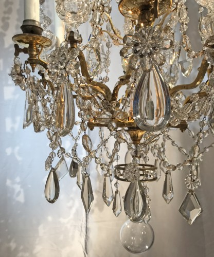A French gilt bronze and crystal six light chandelier, circa 1850 - Lighting Style