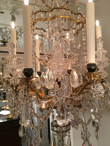 Antiquités - A French gilt bronze and crystal six light chandelier, circa 1850