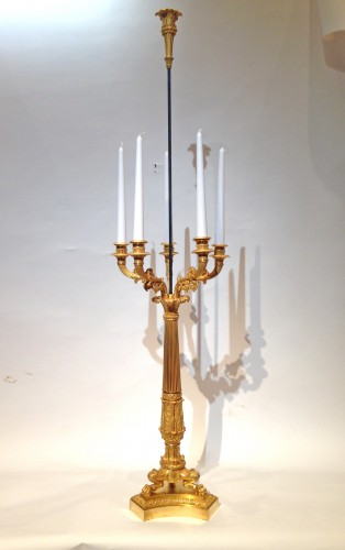 A pair of gilded bronze Restauration bouillotte candélabras  - Lighting Style Restauration - Charles X
