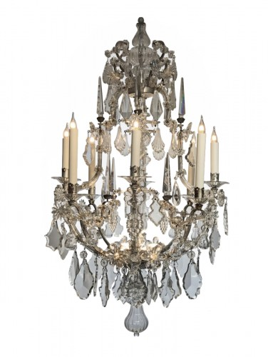 A large Maria Theresia eight-light Bohemian crystal chandelier.