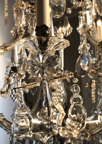 Lighting  - A large Maria Theresia eight-light Bohemian crystal chandelier.