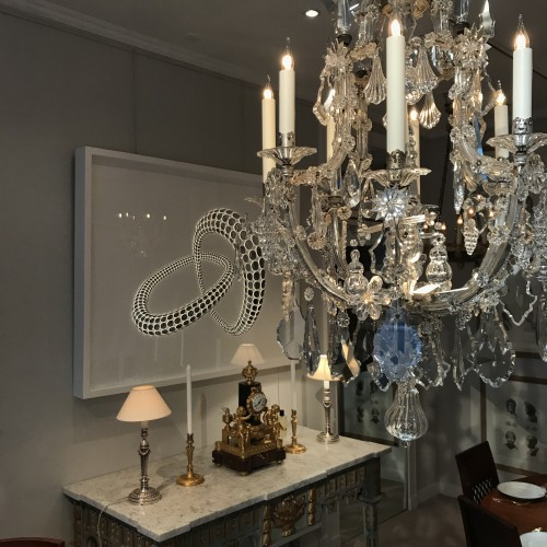A large Maria Theresia eight-light Bohemian crystal chandelier. -