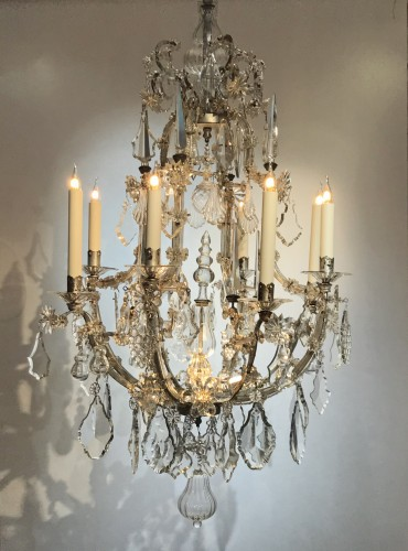 - A large Maria Theresia eight-light Bohemian crystal chandelier.